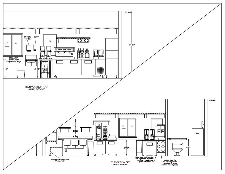 Coffee drive thru plans what 39 s included for Interior design plans elevations